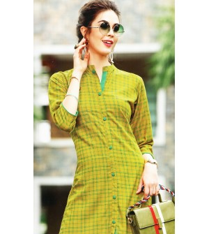 VALAS PRISHA RAYON GREEN CHECKS PRINT Full Stitched KURTIS FOR WOMEN&GIRLS