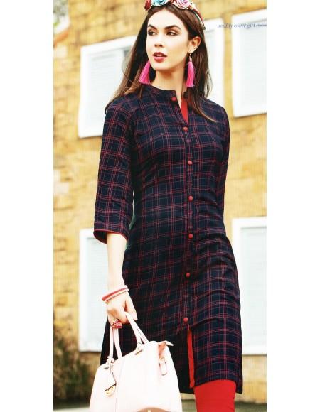 VALAS PRISHA RAYON CHECKS PRINT Full Stitched KURTIS FOR WOMEN&GIRLS