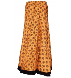 I Heart Decent Girl Cotton Biscuit Coloured Printed Up And Down Skirt For Women
