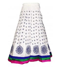 I Heart Decent Girl Cotton White Printed Skirt For Women