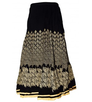 I Heart Decent Girl Cotton Black Printed Skirt For Women