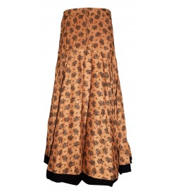 I Heart Decent Girl Cotton Sandal Coloured Printed Up And Down Skirt For Women