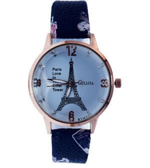 Paris Love In The Eiffel Tower Blue Strap Watch For Women - 2162