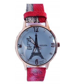Paris Love In The Eiffel Tower Apple Red Strap Watch For Women - 2174