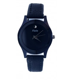 Fizix Plain Dial One Stone Black Strap Analog Watch For Women - 2180