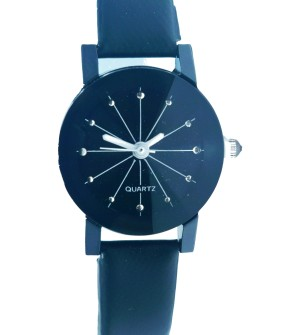 Black Dial Leather Watch For Women's
