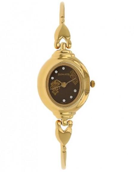 Sonata Analog Brown Dial Women's Watch -NK8092YM02