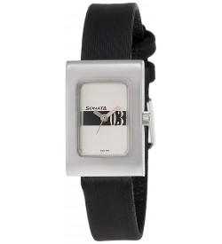 Sonata Analog White Dial Women's Watch -NK8102SL04