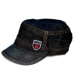 Classic Denim Black Cotton Cap - 8174