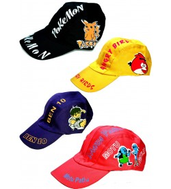Cartoons Multi Colour Cotton Cap For Kids - 8185 - Pack Of 6