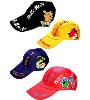 Cartoons Multi Colour Cotton Cap For Kids - 8185 - Pack Of 6