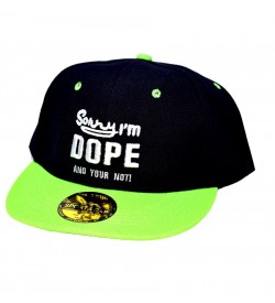 Sorry I'm DOPE And Your Not ! Sports Cap (Black & Green) - 8246