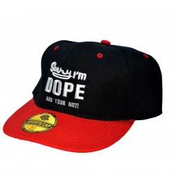 Sorry I'm DOPE And Your Not ! Sports Cap (Black & Red) - 8256