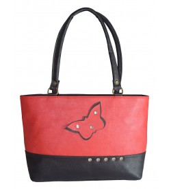 Butterfly Design With Stone Shoulder Bag - ( Red Black ) - 0234