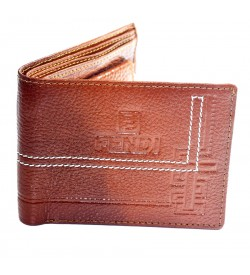 FENDI Men Tan Genuine Leather Wallet (5 Card Slots , 2 Sim Slots ) -0264