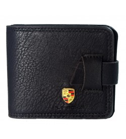 Porsche Men Black Genuine Leather Wallet (10 Card Slots, 2 Sim Slots ) -0269
