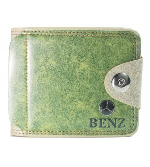 BENZ Men Chilly Green Genuine Leather Wallet (10 Card Slots, 2 Sim Slots ) -0274