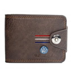 Volkswagen Men Brown Genuine Leather Wallet (9 Card Slots, 2 Sim Slots ) -0291