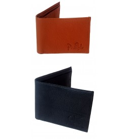 Calvin Klein Pringle Men Black, Tan Two Fold Wallet 7 Card Slots Pack Of 2 - 0541