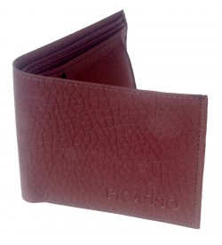 Picasso Men Maroon Two Fold Wallet 3 Card Slots - 0550
