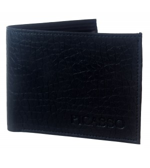 Picasso Men Black Two Fold Wallet 3 Card Slots - 0554