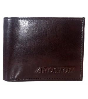 Aroston Real Men D.Brown Two Fold Wallet 4 Card Slots - 0637