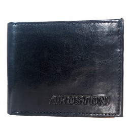 Aroston Real Men Black Two Fold Wallet 4 Card Slots - 0641