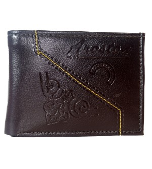 Aroston Men Brown Two Fold Wallet 5 Card Slots - 0646