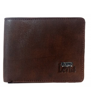Levis Men Brown Two Fold Leather Wallet 5 Card Slots - 0661