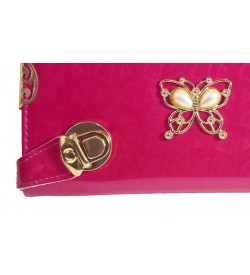 Stone Butterfly Design Baby Pink Shining Wallet For Women (8 Card Slots) - 0190