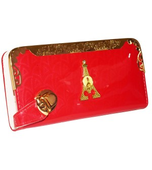 Eiffel Tower Design Coral Shining Wallet For Women (8 Card Slots) - 0194