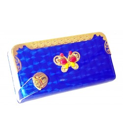 Stone Butterfly Design Royal Blue Shining Wallet For Women (8 Card Slots) - 0202