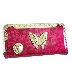 Stone Butterfly Design Maroon Shining Wallet For Women (8 Card Slots) - 0206