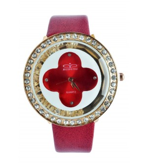 RUISUNG Stone Analog Watch - For Women (Red)