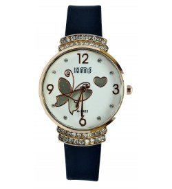 KMS Stone Analog Watch - For Women (Black)