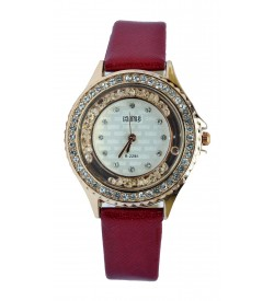 KMS Stone Analog Watch - For Women (Red)