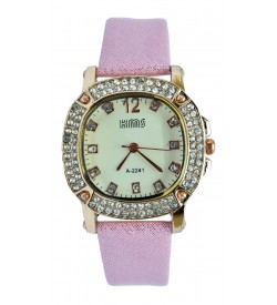 KMS Stone Analog Watch - For Women (Baby Pink)