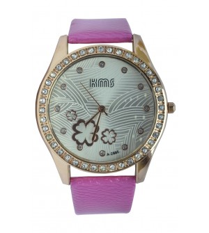 KMS Stone Analog Watch - For Women (Pink)