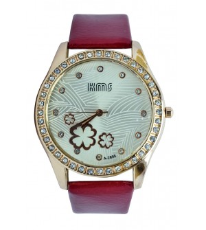 KMS Stone Analog Watch - For Women (Maroon)
