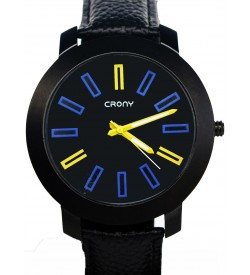 Crony Harmony Black Leather Strap Watch For Boys & Mens - 0260