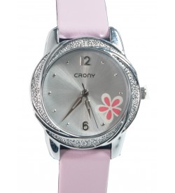 Crony Harmony Pink Gunuine  Leather Strap Watch For Girls - 0363