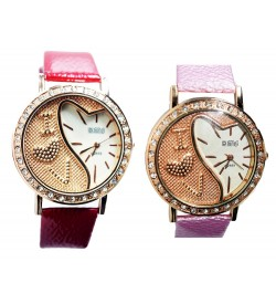 KMS Love Heart Watch For Women-Girls (Red.Pink)(Pack Of 2) - 1081