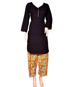 Maatra Reyon Patiyala Full Sleeve Black Kurti & Patiyala (Stitched) - RC7762