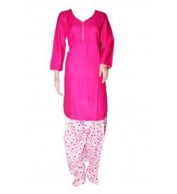 Maatra Reyon Patiyala Full Sleeve Rani Pink Kurti & Patiyala (Stitched) - RC7810