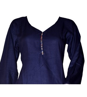 Maatra Reyon Patiyala Full Sleeve Blue Kurti & Patiyala (Stitched) - RC7827