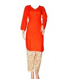 Maatra Reyon Patiyala Full Sleeve Orange Kurti & Patiyala (Stitched) - RC7832