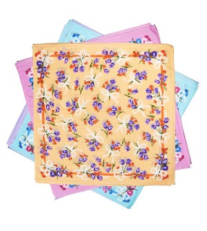 Sofil Colourful Multi Colour Cotton Handkerchief For Gilrs (Pack of 12)