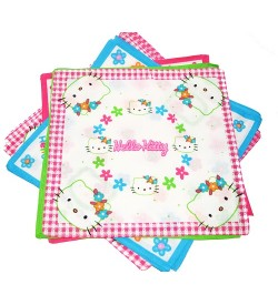 Jaini Hello Kitty Multicolor Cotton Handkerchief For Kids - Pack Of 12