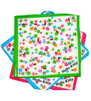 Jaini Hello Kitty Multicolor Cotton Handkerchief For Kids - Pack Of 12