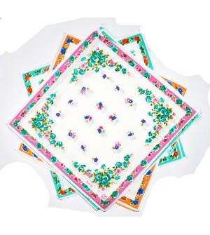 Sofil Colourful Flower Multi Colour Cotton Handkerchief For Gilrs (Pack of 12)